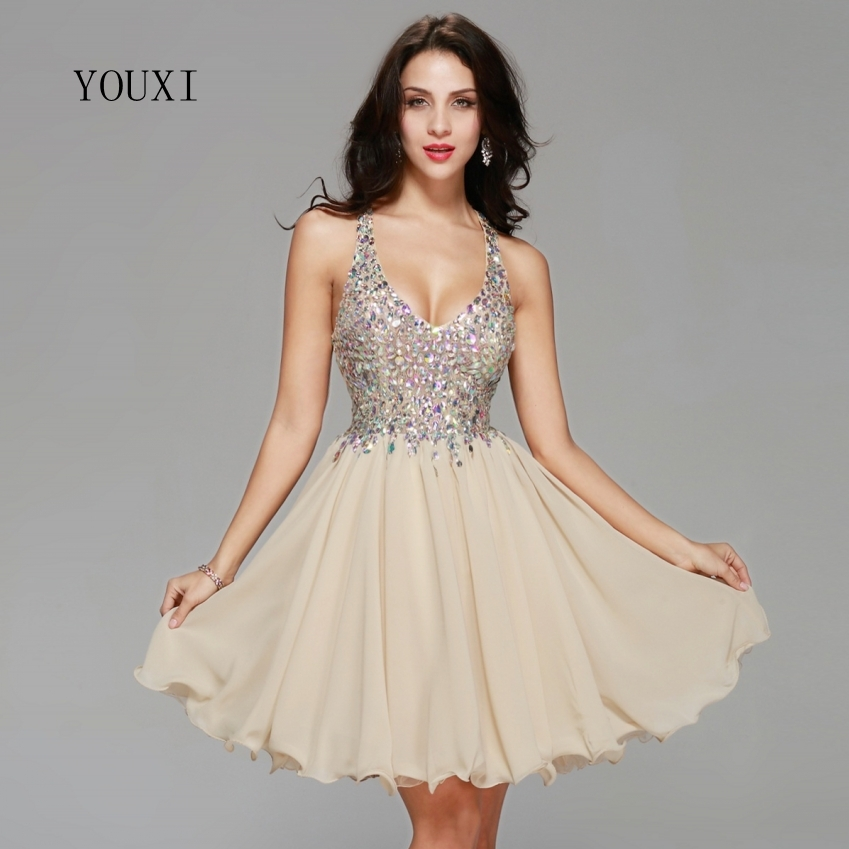 Sexy Champagne Chiffon Lace Crystal Cocktail Dresses 2019 New Arrivals Hot Fashion Short Prom Dresses for