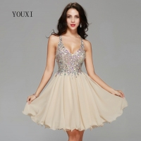Sexy Champagne Chiffon Lace Crystal Cocktail Dresses 2018 New Arrivals Hot Fashion Short Prom Dresses for Homecoming Graduation