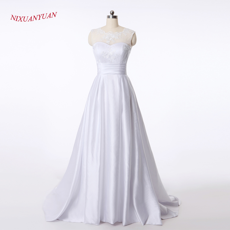 NIXUANYUAN 2017 New Elegant Bridal Gowns Scoop Ivory White Satin Princess Wedding Dresses 2017 A Line