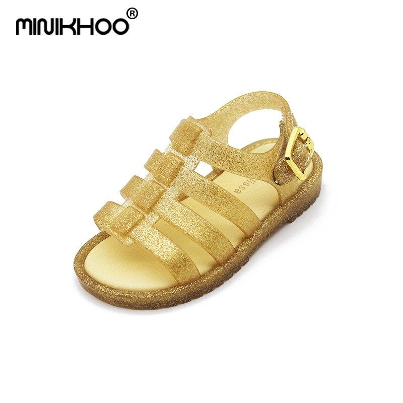 Mini Melissa 2018 Rome Girls Sandals for Kids Fashion Pink Sandals Children Children Jelly Shoes Sandals Flats Summer Sandals