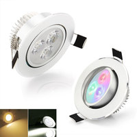 Led downlight lamp 3W AC85 265V RGB/ White/ Warm white /Red/Blue/Green for Kitchen Bedroom Bathroom Spot Light
