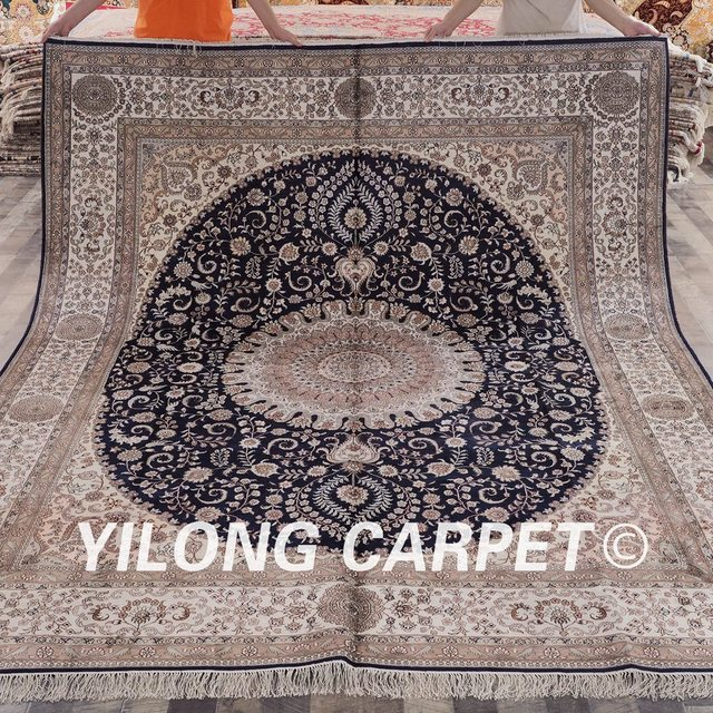 yilong 8x10 traditional persian design blue meddalion handknotted classic silk oriental persian carpets - Carpets For Sale