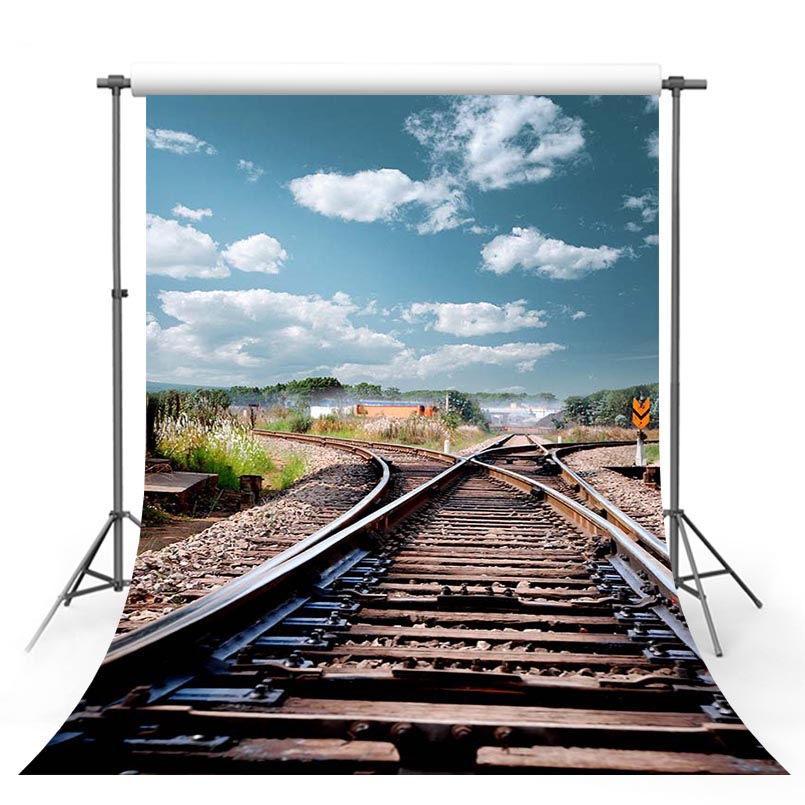 Customized vinyl cloth a railway to a distance photography backgrounds for children photography S-3038