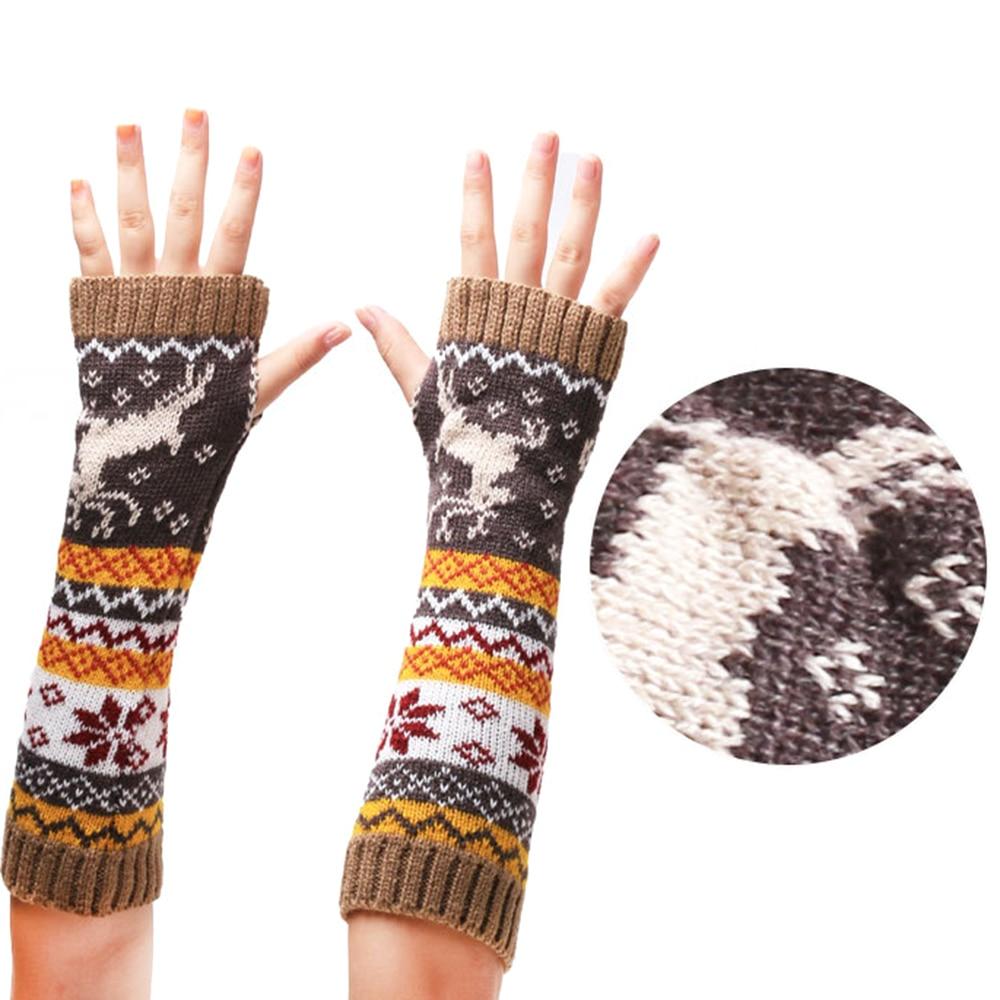 Fashion Elk Printed Arm Warmers Women Winter Warmer Knit Gloves Arm Soft Elk Printed Long Fingerless Mitten