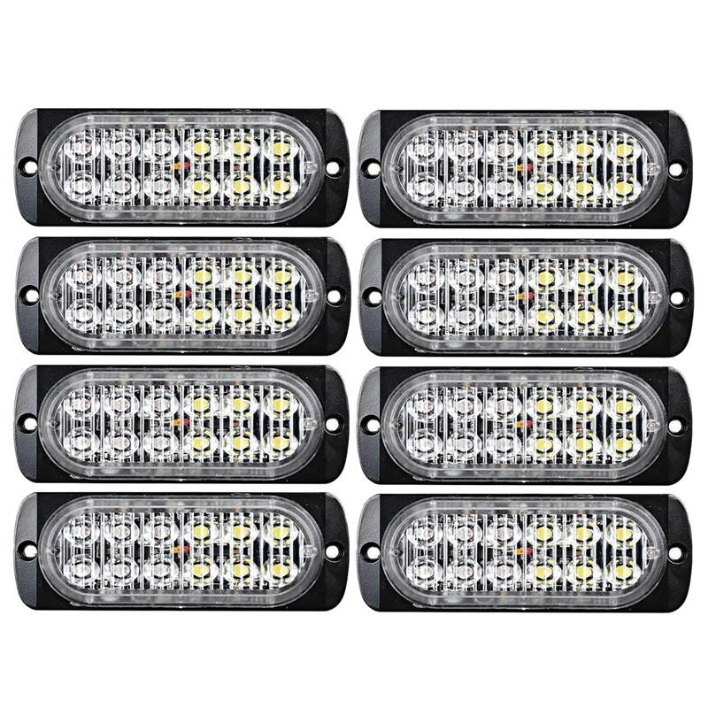 8 Pcs 12-Led Flash Recovery Strobe Car Emergency Signal Light Fog Light White And Yellow