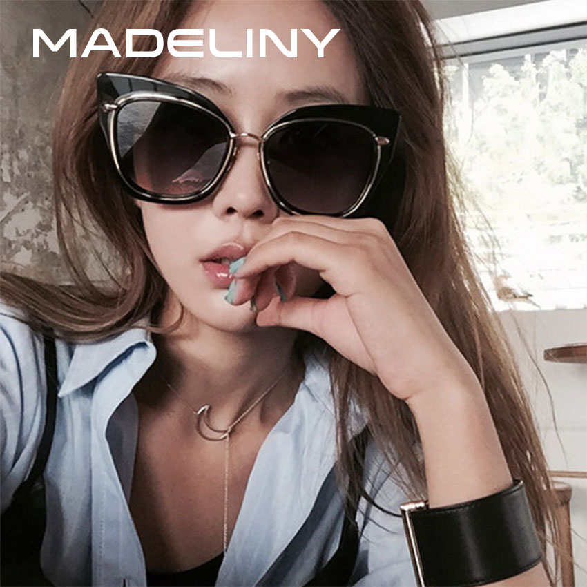 MADELINY Mais Recente Moda Olho de Gato óculos de Sol Revestimento de  Espelho Óculos de Sol Das Mulheres Designer De Marca Do Vintage Grandes  Óculos de ... 5c498c7814