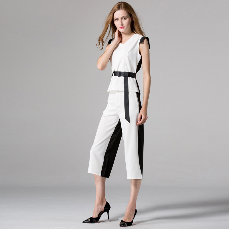 2 piece pants sets women 2018 New Fashion two piece set top and pants Summer Office set Elegant Sexy 2018 pants set Summer Suit in Women 39 s Sets from Women 39 s Clothing