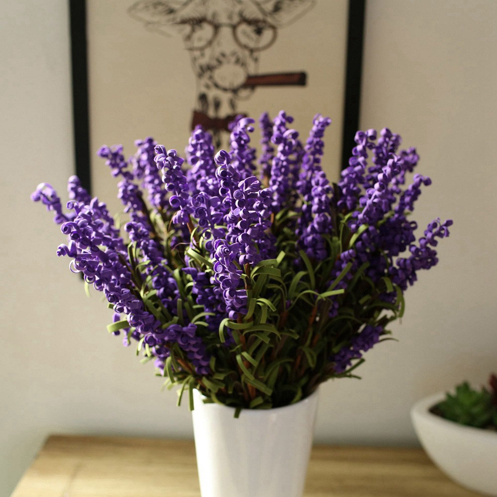 5pcs Pe Lavender Vintage Home Decor Stamens Real Touch Artificial Flowers Plants For Decorations For