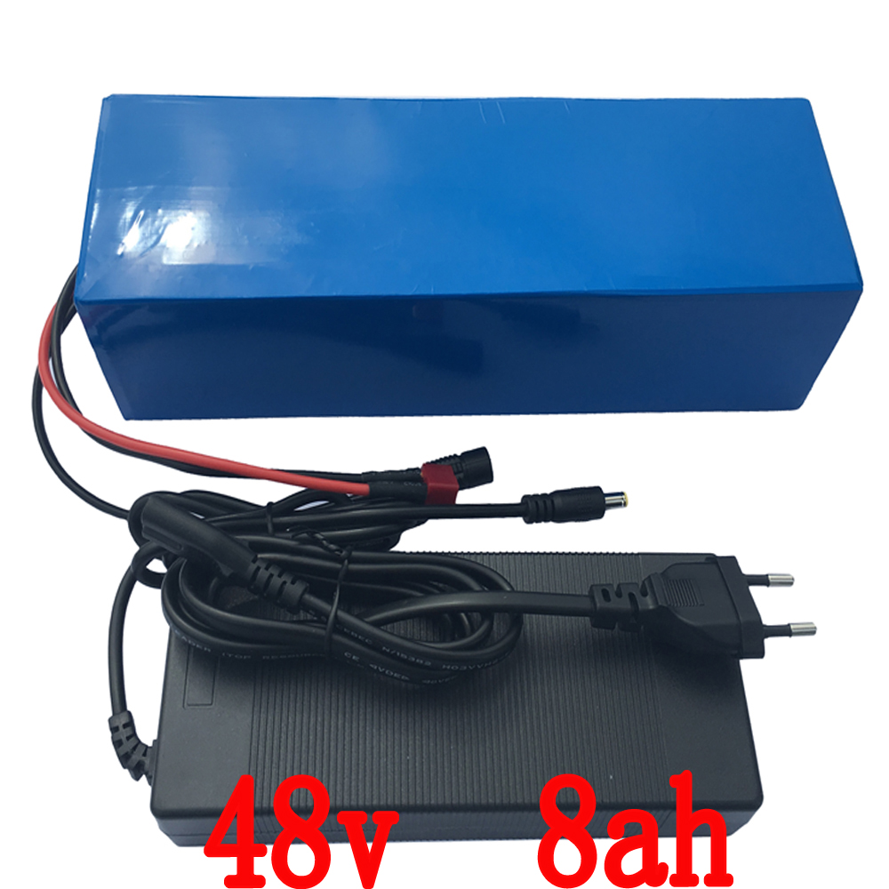 48V 8AH Electric Bicycle battery ebike Lithium Battery with PVC  case15A  BMS,54.6V 2A charger Free Shipping battery 48v 14 5ah 1000w for panasonic cell lithium battery 48v with 2a charger built in 30a bms ebike battery 48v free shipping