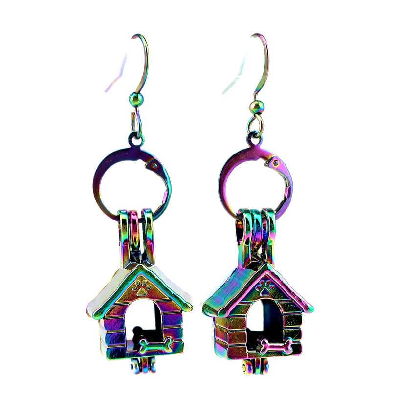 C-E645 Rainbow Drop Oorbellen Hondenhok Puppy Bot Oorbellen Kooi Oester Parel Dangle Hook Oorbellen voor Meisje Vriend DIY Sieraden