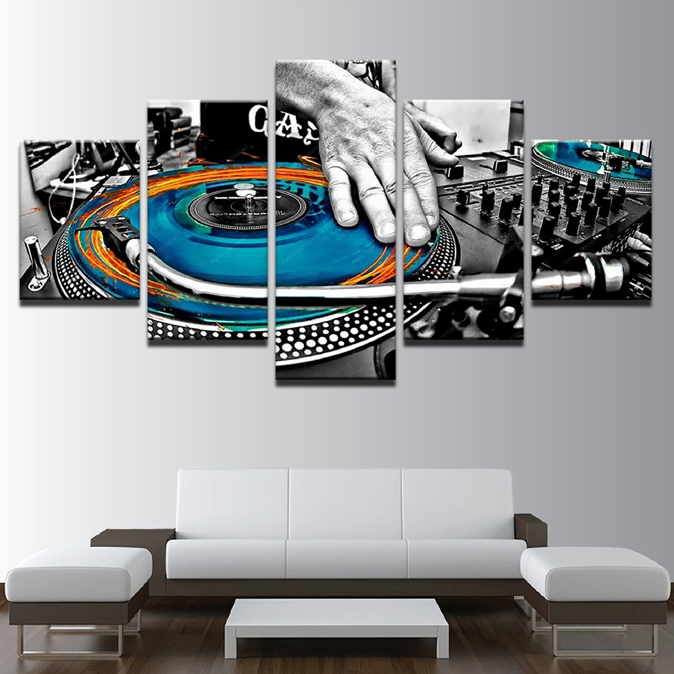5 Piece Picture Painting Blue Orange Cool DJ CD Player Wall Painting Music Lovers HD Print on Canvas for Music Bar Room Decor