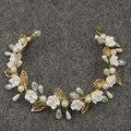 Глины цветок невесте головного убора перл сладкий полые листья люкс тиара boho ювелирные изделия волос свадебные аксессуары для волос
