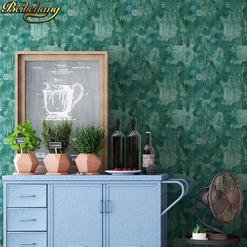 все цены на beibehang papel de parede para quarto Dark green cement Solid color Wallpaper for Walls Bedroom Living Room gray wall paper roll