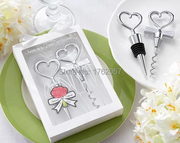 Bride And Groom Bottle Stopper Opener Two Hearts Wine Favor Set Wedding 6bo