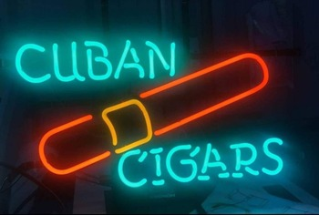 Custom Cuban Cigars Glass Neon Light Sign Beer Bar