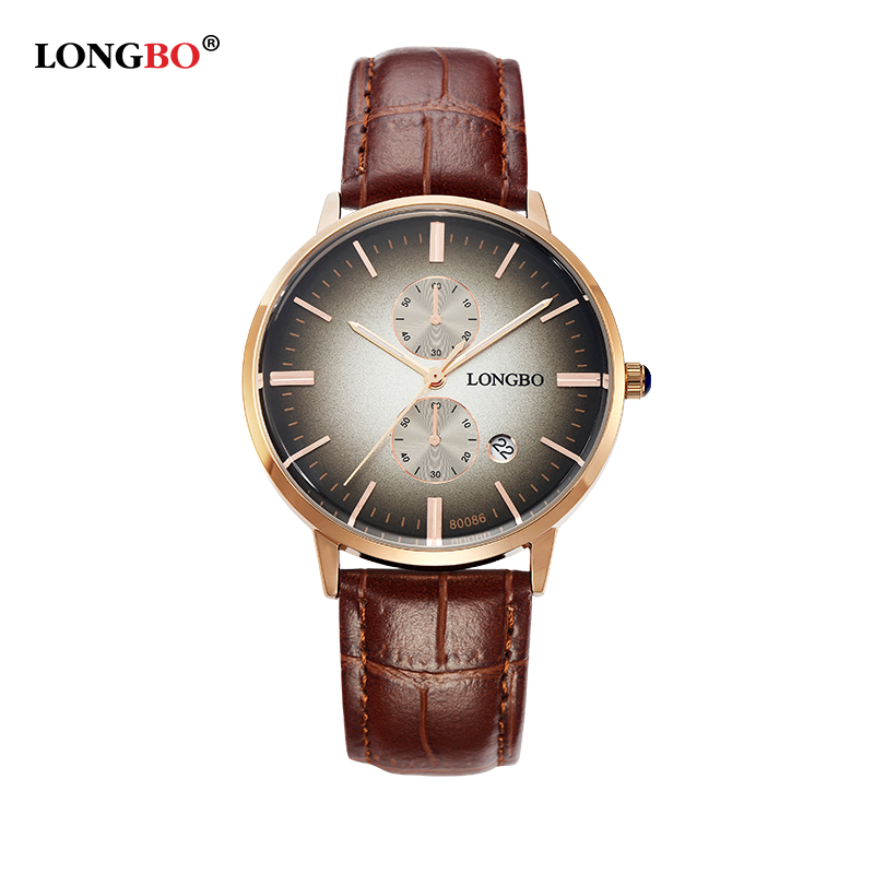 LONGBO Luxury Brand 2017 Leisure Sports Men Wrist Watch Couple Watch Military Quartz Leather Watches Couple Mujer Gifts 80086