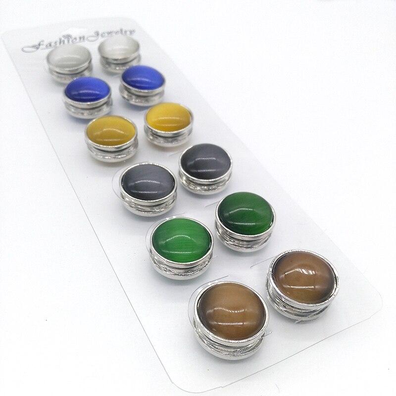 New Magnet Buckle Brooches Opal Hijab Pins 12PCS Woman Wedding Muslim Brooches Safety Scarf Hijab Pins