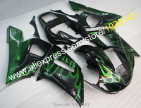 Hot Sales,For Yamaha YZF R6 1998 1999 2000 2001 2002 YZFR6 YZF R6 green flames black bodywork Fairing Kit (Injection molding)
