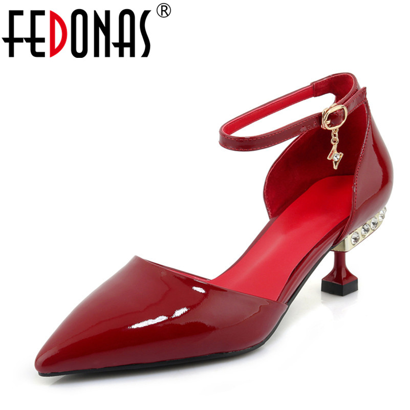 FEDONAS Women Pumps Fashion Gladiator High Heels Shoes Woman Quality Mary Jane Beading Wedding Party Shoes Female Sexy Pumps fedonas new women pumps 2018 mary jane high heels sexy pointed toe slip on wedding party shoes for lady buckles female pumps
