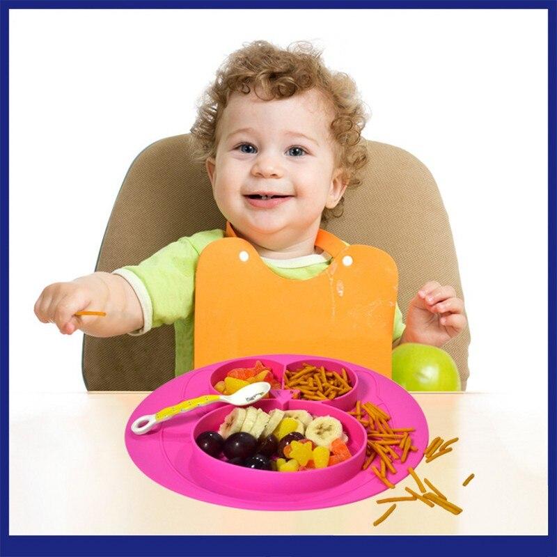 Новый Детский Крем для малышей милый кормления фрукты блюд дети чистого силикона разделить столовых малыш пластина чаша ребенок tablewar