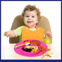 New Baby Cream Baby Infant Cute Feeding Plate Fruit Dishes Kids Pure Silicone Divided Placemat Toddler Plate Bowl Child Tablewar
