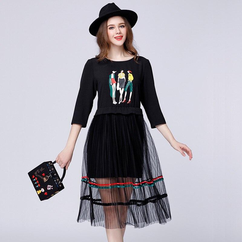 2018 preppy style tulle patchwork women character print chiffon dresses plus size girls net cloth chiffon spring dress black