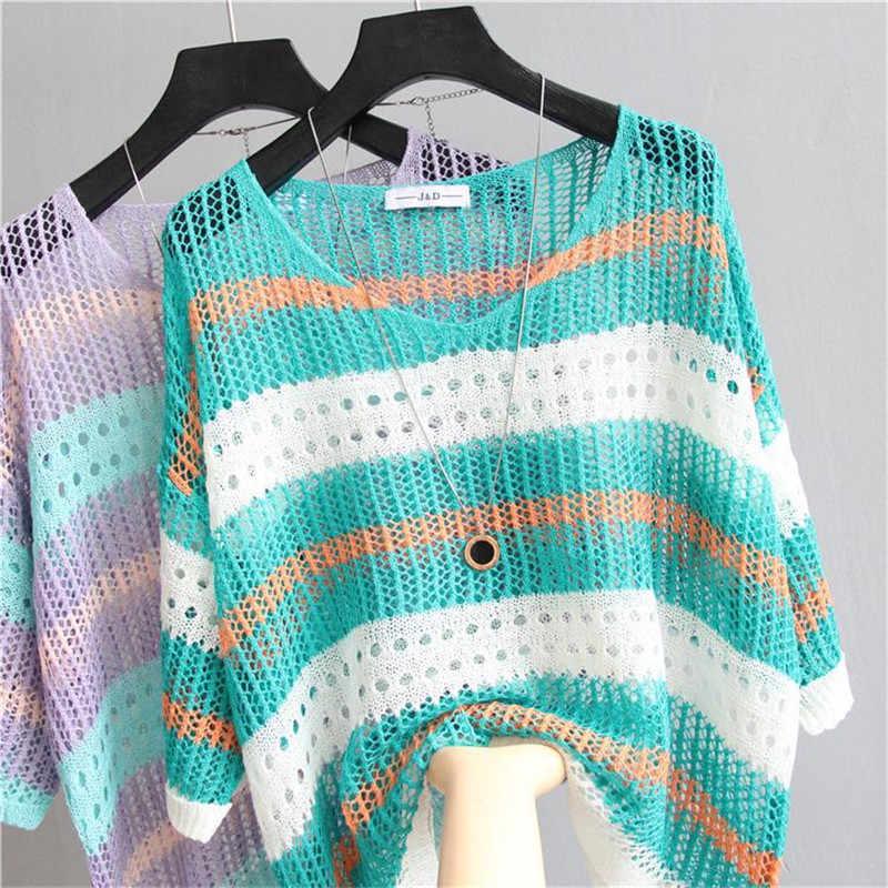 אביב קיץ נשים חלול דק סוודר אופנה פסים סרוג סוודר סוודרים מזדמן סקסי שמש הגנה צבעוני סוודר