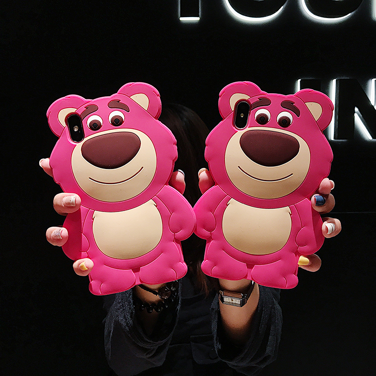 3D Cute Lotso bear case For <font><b>iphone</b></font> XS max XR X Soft cover For <font><b>iphone</b></font> 8plus 7plus 7 8 6s 6plus <font><b>toy</b></font> <font><b>story</b></font> cover <font><b>fundas</b></font> image