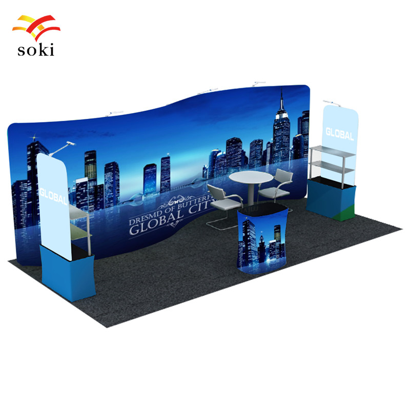 Exhibition Booth Backdrop : 20ft*7.5ft s shape exhibition booth design system trade show tension