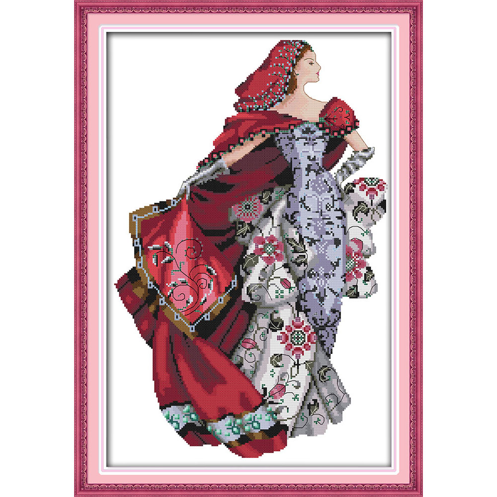 Everlasting love Christmas Dress up pretty girl Ecological cotton Chinese cross stitch kits counted stamped 14CT sales promotion