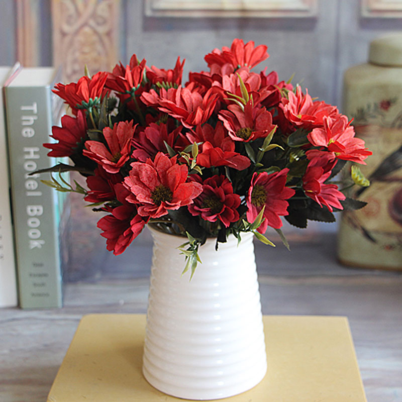 1PCS Artificial Peony Flower White\/Blue\/Red\/Pink Daisy Floral Bouquet Flower Arrangement Table