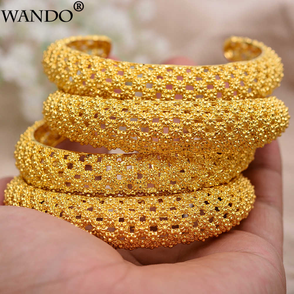 WANDO 4pcs  Gold Color Copper Wedding Bangles for Women Dubai Bride Bracelet African Jewelry Ramadan Middle East Items b143