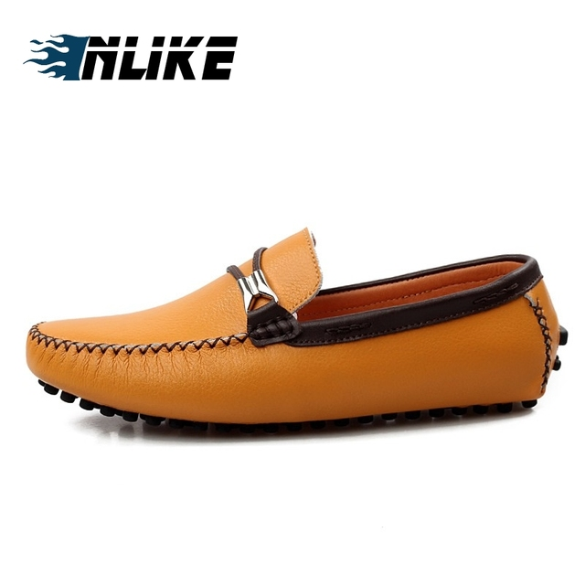 INLIKE Luxury Brand Natural Leather Boat Shoes Mens Top Sider Driving Shoes British Style Handmade Casual Moccasins Flats