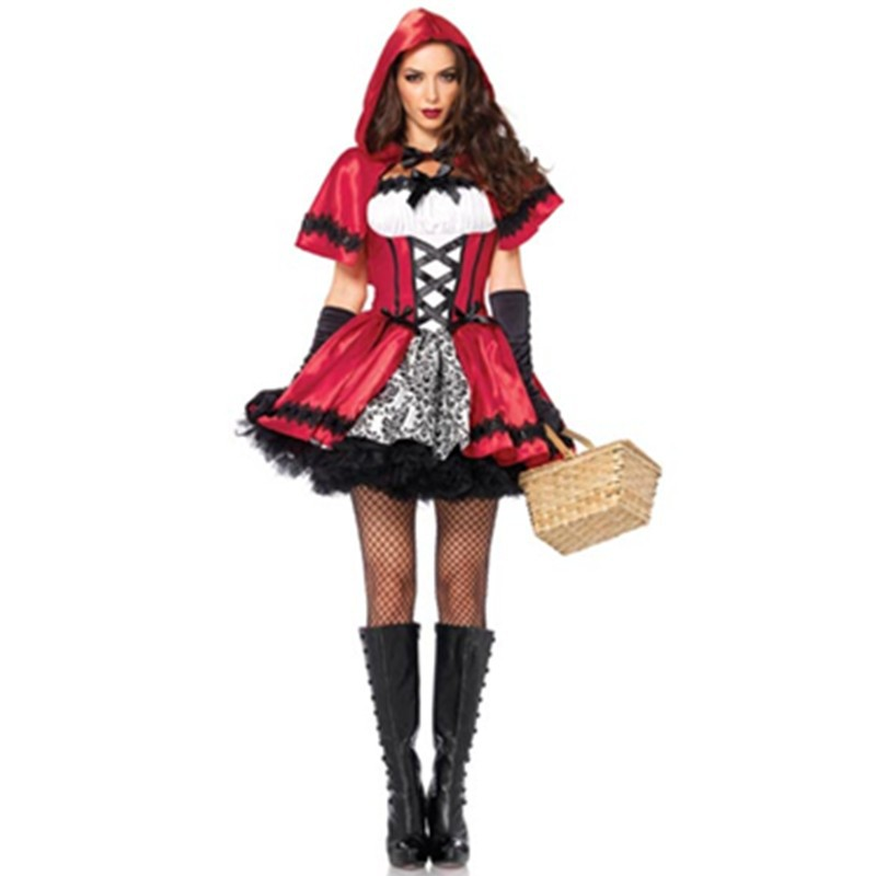 Glamorous Faux Lace-up Bodice Black Satin Bow Red Riding Hood Costume Adult Girl Fairytale Costumes 2015 New Fancy Dress L15206 L15206 800x800