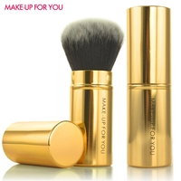 2013 New Arrival Dual Colors Synthetic Hair Pink Retractable Loose Powder Brush Blush Brushes Foundation Brush