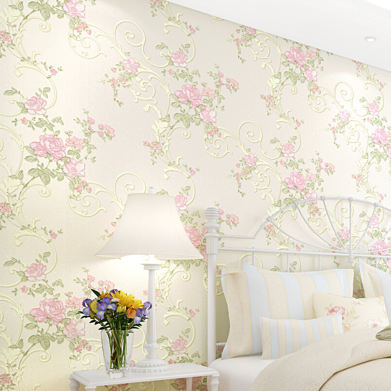 Promotion Stereo Spring Flower Wallpaper Roll Flocking Popular Embossed  Romantic Wall Paper Livingroom Bedroom Home Decor Mural In Wallpapers From  Home ...