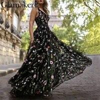 Glamaker Mesh embroidery floral maxi dress Women backless deep v neck loose dress elegant Female sexy fashion club dress vestido