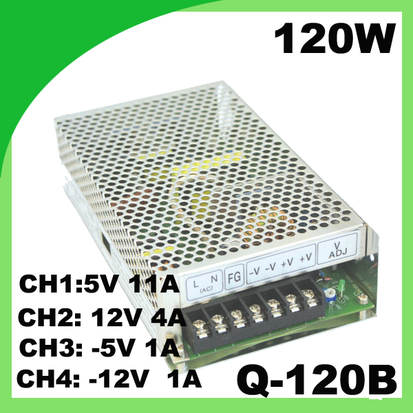 120W power supply drive input 110/220VAC to 5V 11A, 12V 4A, -5V 1A, -12V 1A quad switching power supply Q-120B free shipping leadshine l5 750 el5 d0750 ach750 servo drive 220 230 vac input 5a peak output power to 750w hot sales