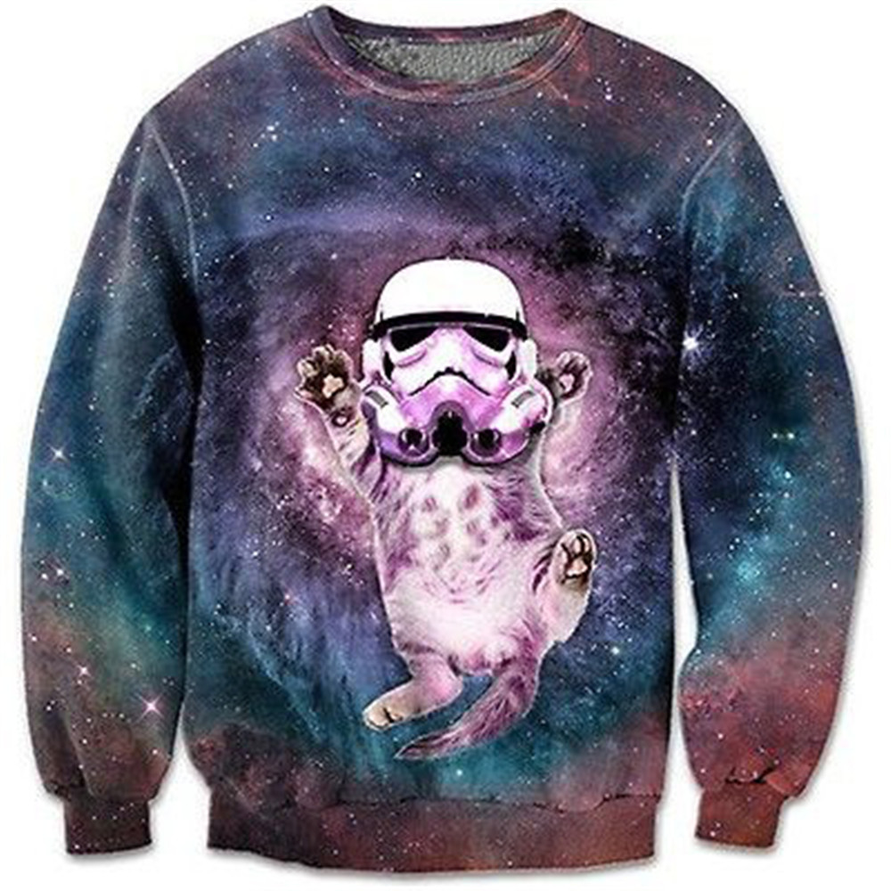 Starry Sky 3d Sweatshirts Funny Cat With Hat Printed Coat Tide Boys Novelty Streetwear Male Loose Tracksuit 6XL Plus Size