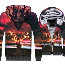 New Arrival Mens Clothing 2019 Winter Thick Zipper Hoodies Hoody Hip Hop Anime 3D Sweatshirts Game Of Thrones Tracksuit Jackets