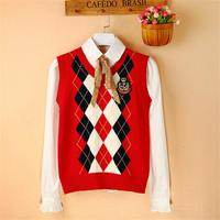 2019 Spring and Autumn girls student clothes rhombus fashion comfortable ladies sweater vest V neck knitted vest B449