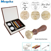 Mogoko 2018 Newest Vintage Sealing Stamp With Seal Wax Sticks Without Wicks Spoon Candles Kit Set