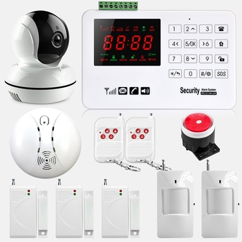 цена на GSM Wireless Home Business Burglar Security Alarm System Motion Detector PIR Smoke Sensor