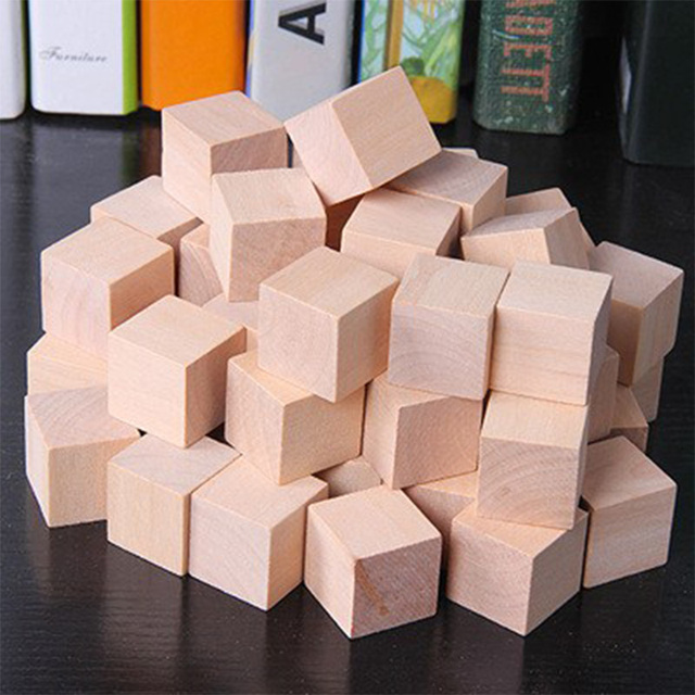Set of 100 Wooden Cubes for Toddlers and Kids