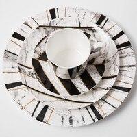 Marbling dinner plates set bone china Coffe mug set China bone dinner set Dinnerware Sets Dishes & Plates