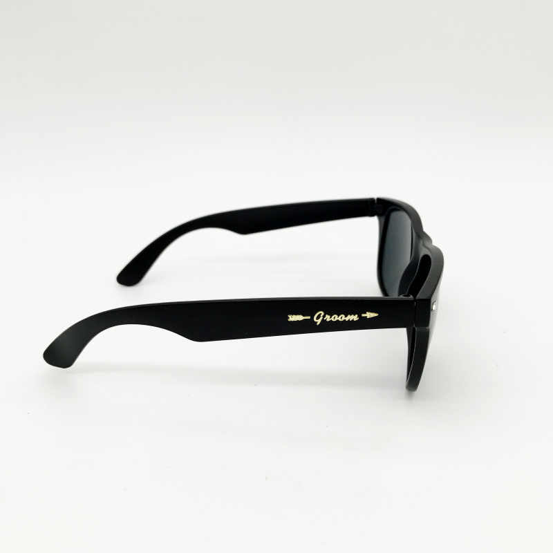 fd98511fcfe7 ... 6 Pairs lot Black Groom Bestman Groomsman Party Sunglasses with Gold  Metal stickers Groomsman Gift ...