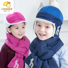 Korea plus cashmere warm embroidered hat scarf set of boys and girls two sets of autumn and winter two wearing a cap