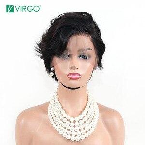 Парик Virgo pixie cut, Короткие парики из человеческих волос на кружеве, парики для черных женщин 13X4, прямые парики из фронта шнурка, бразильские волосы Remy