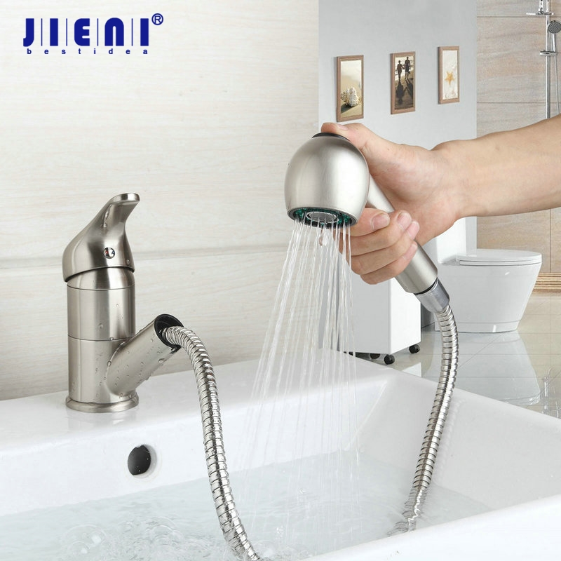 Two Function Kitchen Nickel Brushed Brass Double Spouts 360 Degree & Pull Out Kitchen Faucet Kitchen Tap Sink Mixer newly arrived pull out kitchen faucet gold chrome nickel black sink mixer tap 360 degree rotation kitchen mixer taps kitchen tap