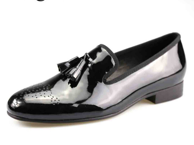 19ed6d929 Black Patent Leather Men Dress Shoes with Tassel Plus Size Men Loafers Men  Flats US Size 6-14 Free Shipping